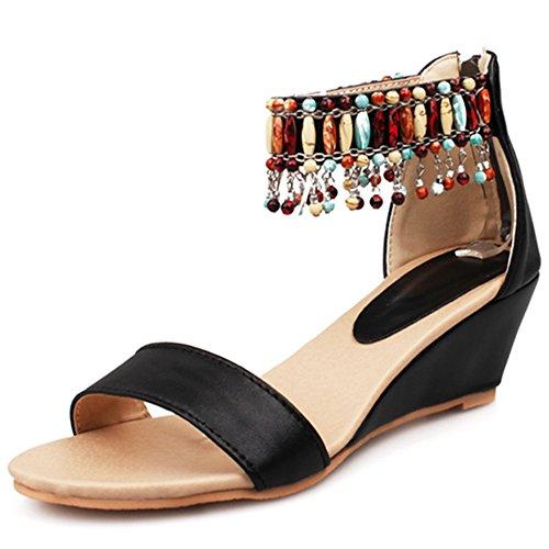 Tacco A Spillo Donna Con Zeppa Open Toe In Boemia Con Cinturino Alla Caviglia Sandali Con Zip Posteriore Nera