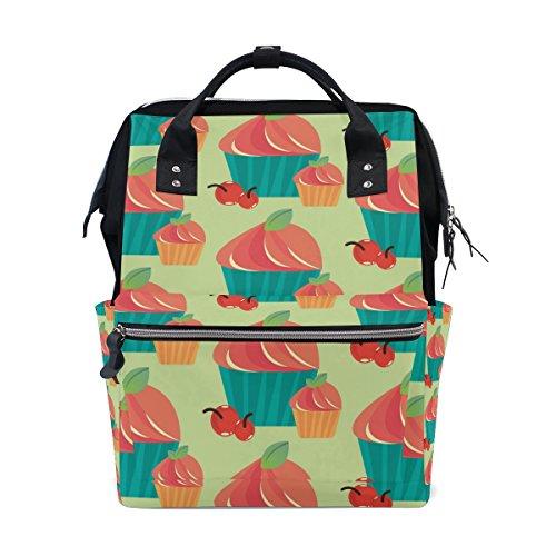MaMacool Mummy bag Diaper Tote Bags Larger Capacity Baby Nappy Bag Strawberry Shortcake Cupcake Pattern Muti-Function Travel (Strawberry Shortcake Baby Items)