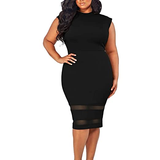 c8401a4036 Amazon.com: Ghazzi Women Dresses Elegant Plus Size Midi Bodycon ...