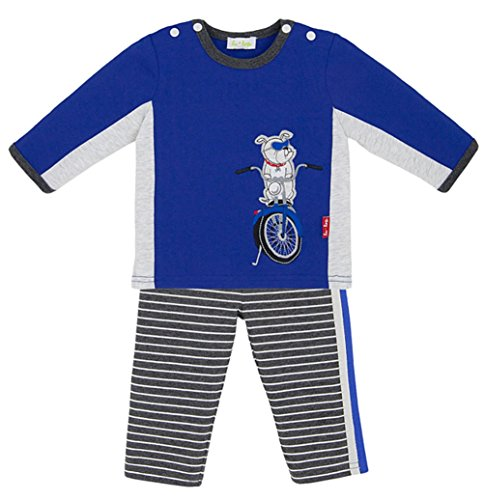 le top Baby Boy Cobalt Blue Vroom Motorcycle Pant and Shirt Set (9M)