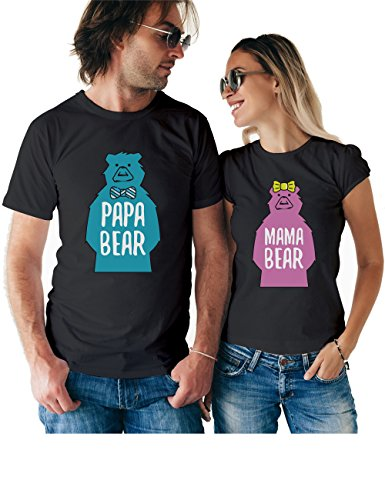 Mama Papa Bear Matching Couple T Shirts - His and Hers Custom Shirts - Couples Outfits for Him and Her ()