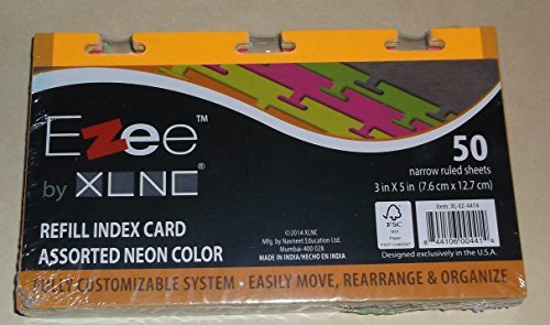 Ezee Line by XLine Refill Index Card Neon colors - 50 sheets