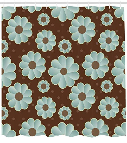 MJHAN Brown and Blue Shower Curtain, Retro Daisy Pattern with Polka Dot Background Abstract Design, Fabric Bathroom Decor Set with Hooks, 84 Inches Extra Long, Brown Pale Seafoam Umber