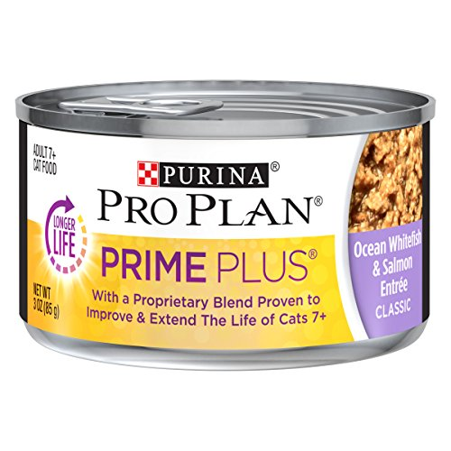 Purina Pro Plan Prime Plus Classic Ocean Whitefish & Salmon Entree Adult 11+ Wet Cat Food - (24) 3 oz. Pull-Top Cans