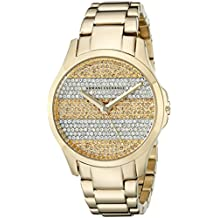Armani Exchange Smart Crystal Pave Striped Dial Gold-tone Ladies Watch AX5242