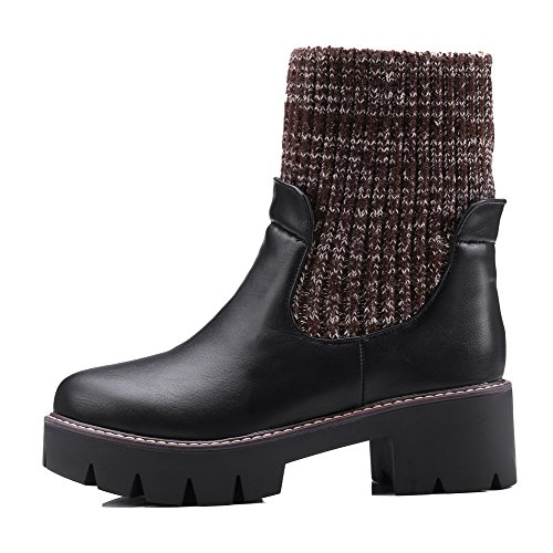 Allhqfashion Women's Solid PU Kitten-Heels Pull-on Round Closed Toe Boots Black 20lMNJSv