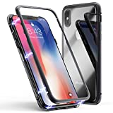 iPhone X Case, ZHIKE Magnetic Adsorption Case Ultra Slim Metal Frame Tempered Glass with Built-in Magnet Flip Cover [Support Wireless Charging] for Apple iPhone 10/X (Clear black)