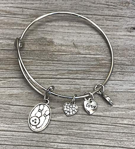 Bowling Charm Bangle Jewelry- Custom Bowling Charm Bracelet for Women and Girls, Perfect Bowling Gifts