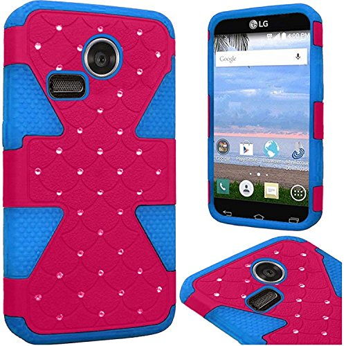 LG Lucky/Sunrise Case, HRWireless Dual Layer [Shock Absorbing] Protection Hybrid Rubberized Hard PC/Silicone Case Cover With Diamond Compatible LG Lucky/Sunrise, Hot Pink/Blue