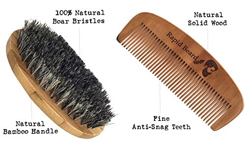 cb0ce848bd50 Beard Grooming & Trimming Kit for Men Care - Beard Brush, Beard Comb,  Unscented Beard Oil Leave-in Conditioner, Mustache & Beard Balm Butter Wax,  ...