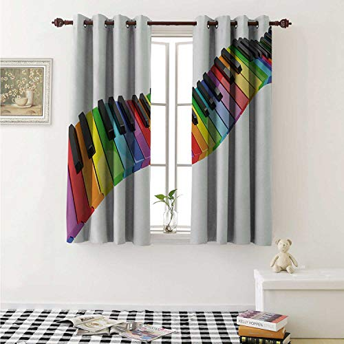 (Music Thermal Insulating Blackout Curtain Vibrant Colored Piano Keyboard Wave Musician Arts Entertainment Harmony Instrument Curtains Girls Room W55 x L39 Inch Multicolor)