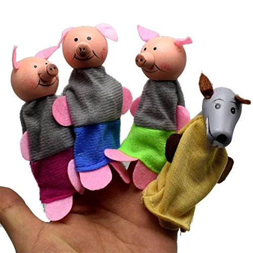 (Baomabao Animal Wooden Finger Toys 4Pcs/Set Three Little Pigs and Wolf Family Game Whole Puppets Hand Doll)