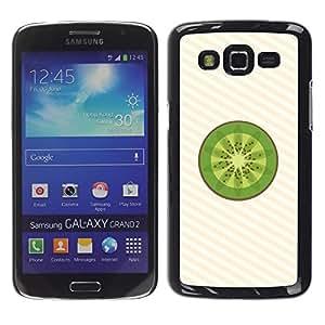 TopCaseStore / la caja del caucho duro de la cubierta de protección de la piel - Minimalist Kiwi Fruit Slice - Samsung Galaxy Grand 2 SM-G7102 SM-G7105