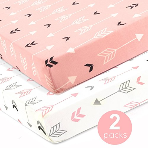 Stretchy Fitted Crib Sheets Set-Brolex 2 Pack Portable Crib Mattress Topper For Baby Girls Boys,Ultra Soft Jersey ,Full Standard,Pink & White Arrow