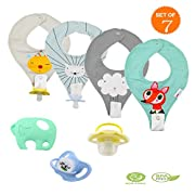 4 PACK Bandana Teething Bibs Organic Cotton Baby Drool Bibs with BPA Free Food Grade Silicone Teether and Pacifier for Drooling Teething and Chomping, 7 in 1 Best Gift Sets for Boys & Girls (Fox Pack)