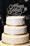 Always & Forever Wedding Cake Topper, Glitter Wedding Cake Topper, Engagement Cake Topper, Gold Cake Topper, Gold Glitter Cake Topper (13'', Glitter Silver)