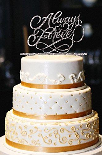 Always & Forever Wedding Cake Topper, Glitter Wedding Cake Topper, Engagement Cake Topper, Gold Cake Topper, Gold Glitter Cake Topper (13'', Glitter Silver) by American Sign Letters (Image #1)