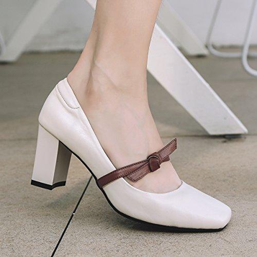 del para Comfort Heels del vestido Heel cerrado pie Chunky negro cuero dedo blanco verano de mujer Segundo de el Block Heel Zapatos SHINIK de SUwq6U0