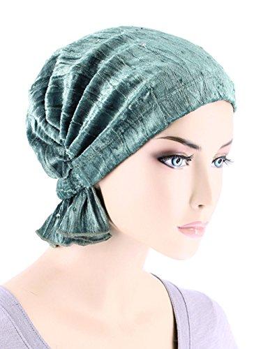 (Abbey Cap Womens Chemo Hat Beanie Scarf Turban Headwear for Cancer Stretch Velour Sequin Mystic Sage)