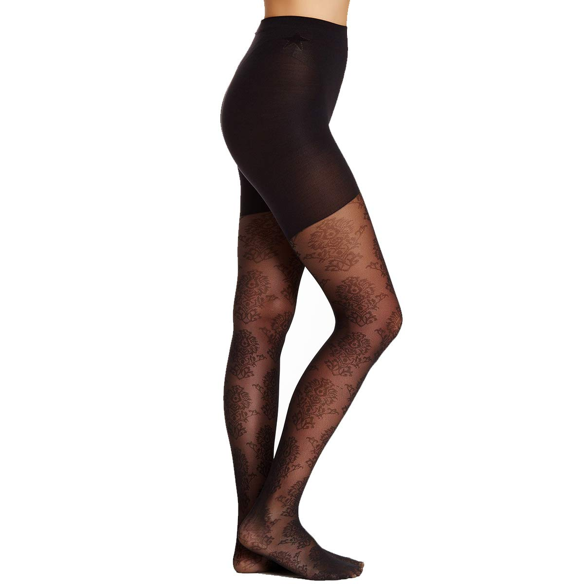 3e5eb317c0a99e Star Power by Spanx Center-Stage Pattern Shaping Tights Medallion Black B:  Amazon.co.uk: Clothing