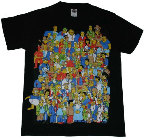 The Simpsons Glow in the Dark Homer Crowd Black T-Shirt Tee