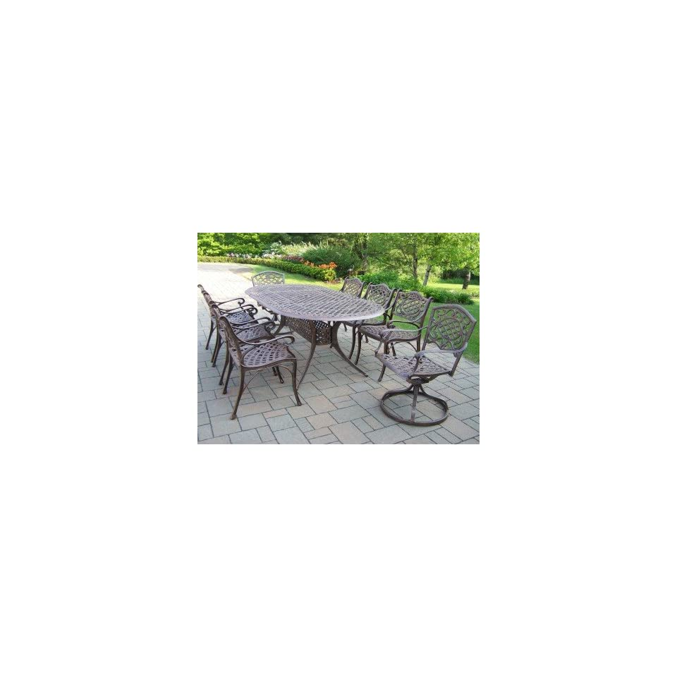 Oakland Living Mississippi Cast Aluminum 82 x 42 Inch Oval 9pc Dining Sets with Swivels