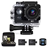 Oileus 4K Action Camera, Underwater Waterproof Camcorder, 1080P 16MP 170°Wide Angle, WiFi Sports