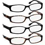 Reading Glasses 2.25 2 Black 2 Tortoise F503 (4 Pack)