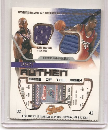 Karl Malone & Elton Brand 2002-03 Fleer Authentix Game Of The Week Dual Game Worn Jersey Insert Card