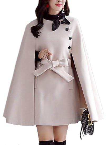 Yogly Femme élégant Chaud Hiver Poncho Cape Mélange De Laine Veste Outwear Automene Manteau Avec Une Ceinture