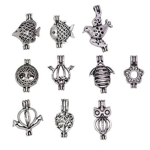 - REYOW 10PCS Mixing Ancient Silver Fish Bird Animal Oyster Pearl Pendant Alloy Cage Add Perfume and Essential Oils Diffuser Charms