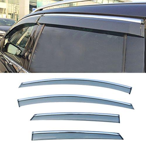 (CUSTOM 4pcs Smoke Tint with Chrome Trim PVC Outside Mount Tape On Style PVC Sun Rain Guard Vent Shade Window Visors Fit 12-16 Ford Focus)