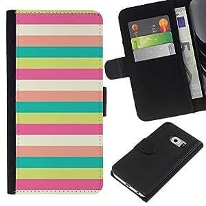 KLONGSHOP // Tirón de la caja Cartera de cuero con ranuras para tarjetas - Patrón Sunny Beach en colores pastel del trullo - Samsung Galaxy S6 EDGE //