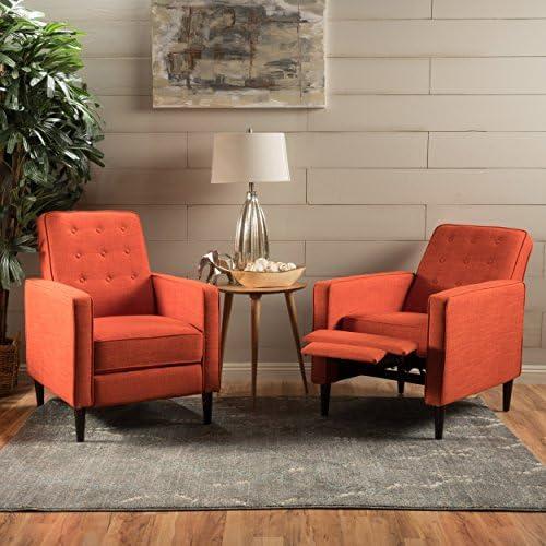 Christopher Knight Home Marston Mid Century Modern Fabric Recliner Set of 2 Orange , Muted
