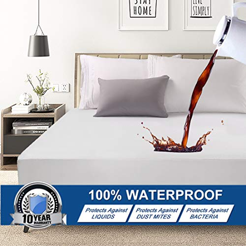 Abakan King Mattress Protector 100% Waterproof Smooth Soft Breathable Noiseless Premium Fitted Mattress Pad Cover Luxury Elastic Deep Pocket Vinyl Free Bed Cover 78x80 Inch