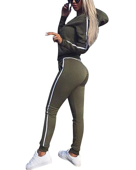 YiLianDa Donna Tuta Sport Manica Lunga Felpa con Cappuccio Pantaloni 2 Pezzi