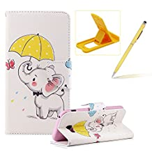 Wallet Leather Case for Samsung Galaxy A5 2017 A520,Flip Case for Samsung Galaxy A5 2017 A520,Herzzer Stylish Premium Cute Elephant Printed Magnetic Stand PU Leather with Inner Soft Rubber Case
