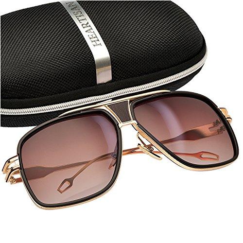Heartisan Golden Frame Vintage UV400 Protection Aviator Sunglasses - Less Designer Mens For Sunglasses