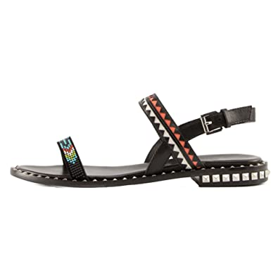 Wind Leather Sandals In The Summer In Europe And AmericaA Buckle Peep-toe Flat Women's ShoesRivet Sandals-Black Foot length=21.8CM(8.6Inch)