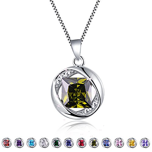 - Aurora Tears Created-Peridot Pendant August Birthstone Necklace for Women 17.7