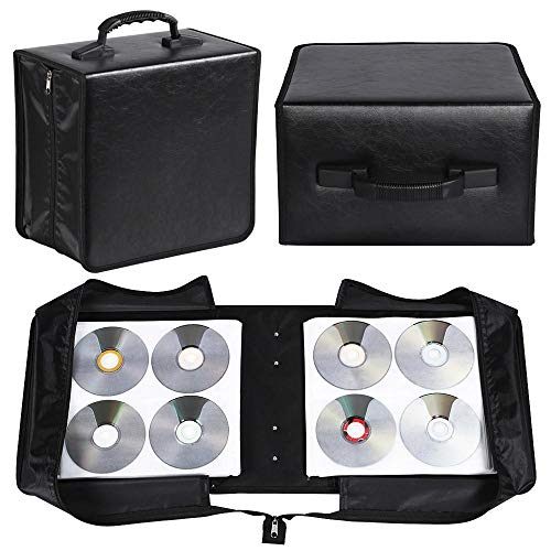 Yaheetech 2 Set 400 Capacity CD DVD Storage Case Wallet Binder for Car Home Office and Travel - Black