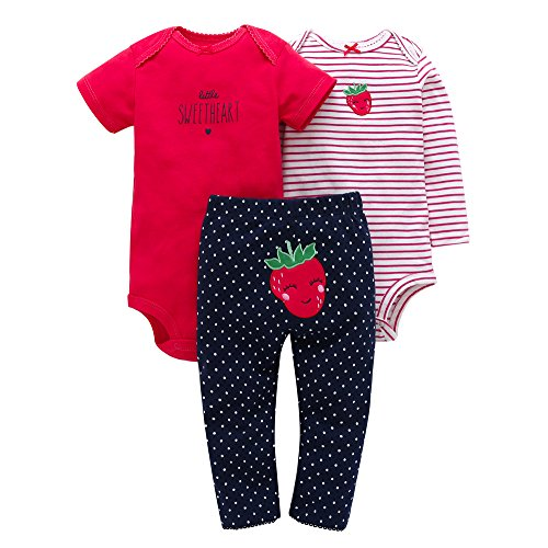 Baby Girls Outfit Pants Bodysuit Toddler 3-Piece Set 12M Pink Stripe Red