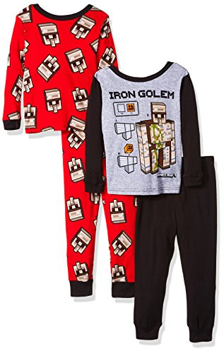 Minecraft Boys' Little Gamer 4-Piece Cotton Pajama Set, Golem Gray, 4]()