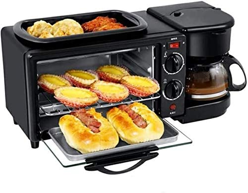 LINANNAN Petit-déjeuner Multifonction nacelle Trois-en-Un café Grille-Pain Frit Mini-Four électrique Intelligent Cadeau