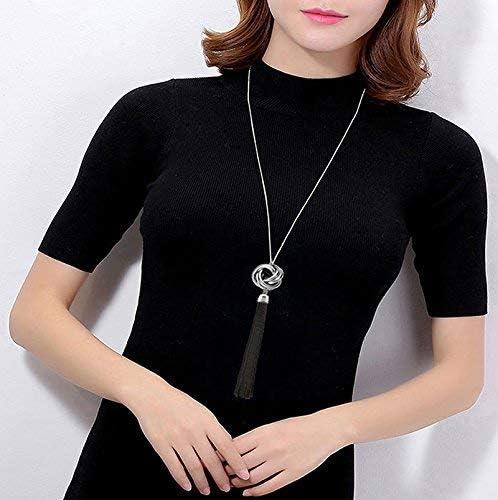Long Tassel Necklace Black Lovely Knot Tassel Pendant Knot Chain Gift YI