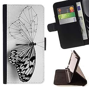 BullDog Case - FOR/Samsung Galaxy S6 / - / butterfly deep smart black white wing /- Monedero de cuero de la PU Llevar cubierta de la caja con el ID Credit Card Slots Flip funda de cuer
