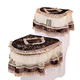 Freahap Toilet Cover Set Lace Bathroom Decor Tank Cover Toilet Lid Cover Toilet Seat Cover Coffee