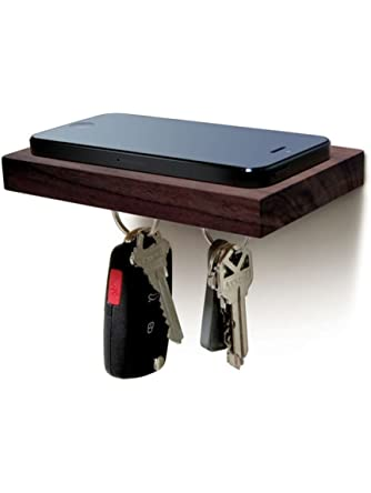 Ilovehandles Plank Floating Cell Phone Wall Mounted Wood Shelf With Magnetic Keyhook - Black Walnut