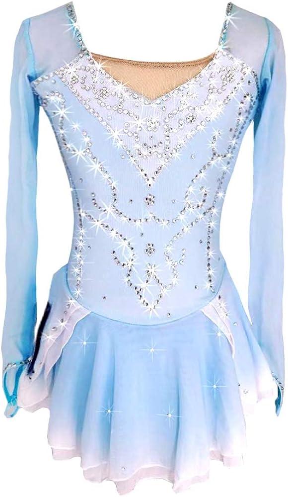 Women's Girls' Ice Skating Dress Blue/White Spandex High Elasticity Competition Skating Wear Ice Skating Figure Skating