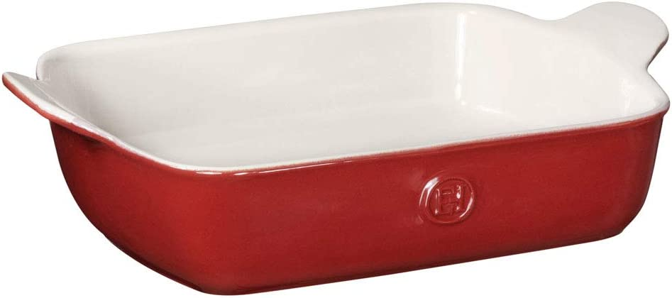 Emile Henry Modern Classics Small Rectangular Baker 11x10, 11 x 8, Rouge Red